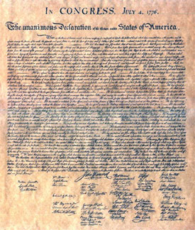 Copy of Actual Declaration of Independence